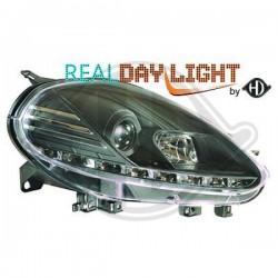 DRL LAMPY PRZEDNIE REFLEKTORY FIAT PUNTO 09-12 CZARNE